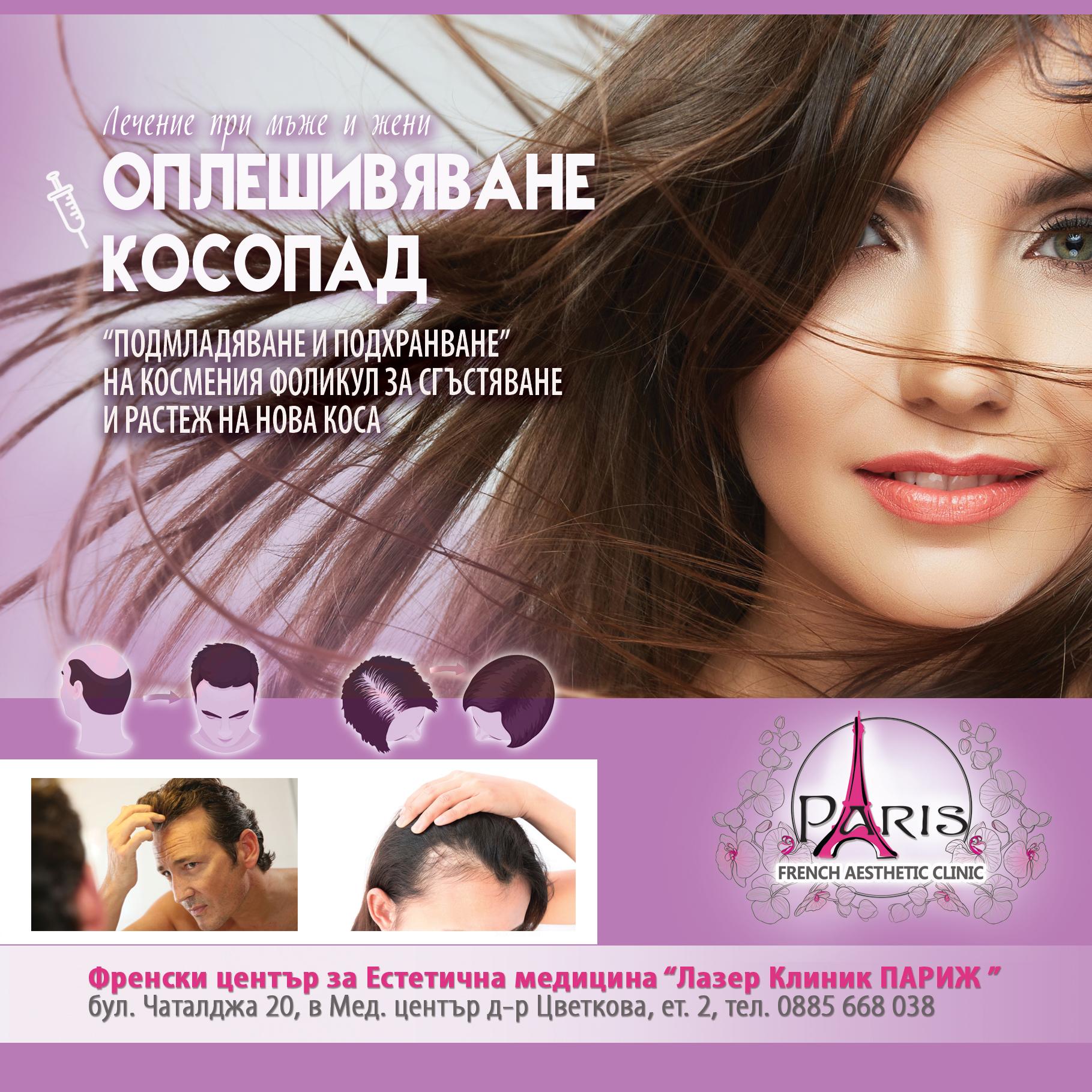 Лечение на косопад и оплешивяване при мъже и жени - Лазер Клиник Париж